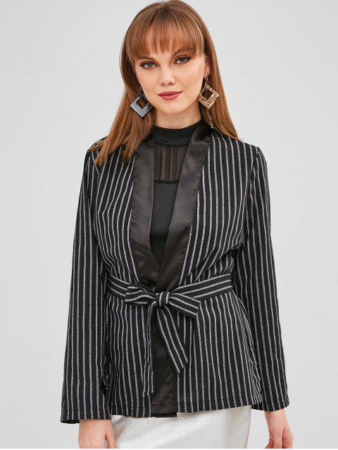latest Striped Slit Wrap Blazer - BLACK S Mobile