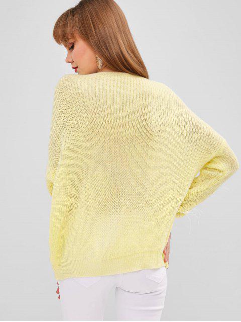 Suéter com Pérolas Artificiais e Gola em V - Milho Amarelo Um Tamanho Mobile