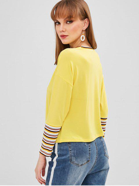 unique Cat Patched Stripes Panel Tee - CORN YELLOW XL Mobile