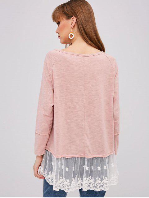 affordable Raglan Sleeve Lace Insert Top - PINK S Mobile