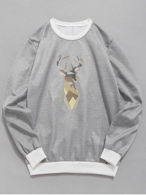 fancy Geometric Elk Print Fleece Sweatshirt - GRAY M Mobile