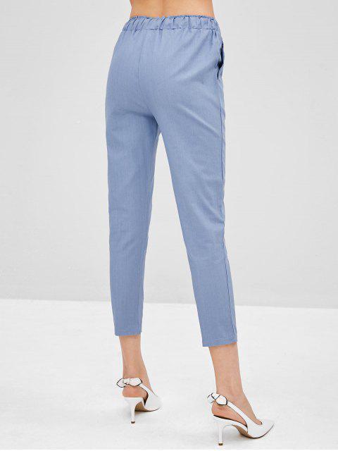 Novenos pantalones rectos de talle alto - Gris Azulado 2XL Mobile