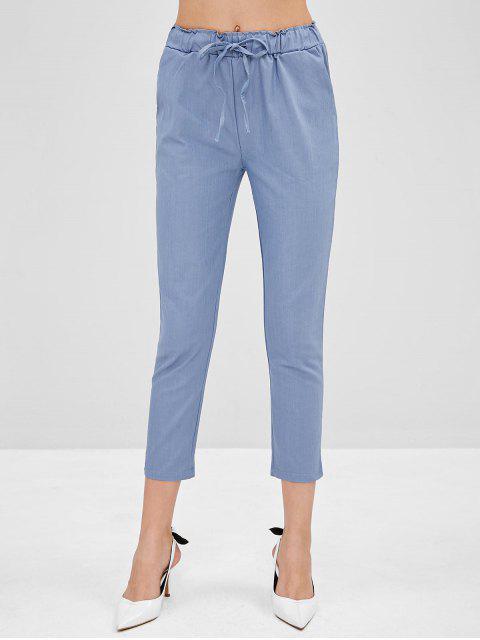 Novenos pantalones rectos de talle alto - Gris Azulado L Mobile