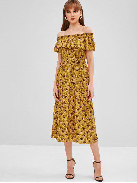 Vestido de hombro con estampado superpuesto - Oro Anaranjado S Mobile