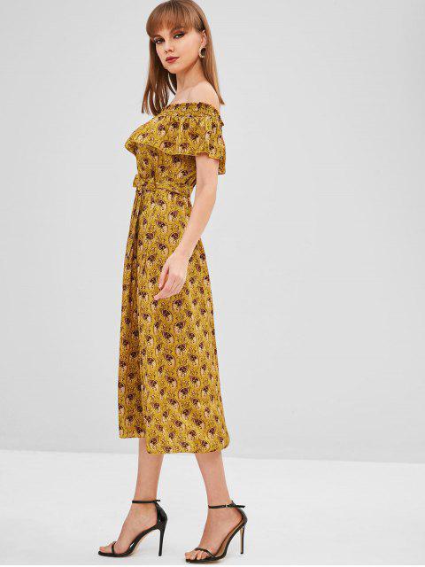 outfit Overlay Printed Off Shoulder Dress - ORANGE GOLD L Mobile
