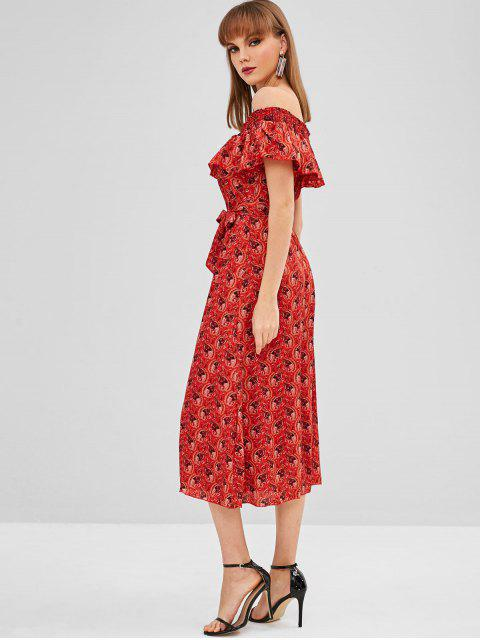 womens Overlay Printed Off Shoulder Dress - CHERRY RED M Mobile