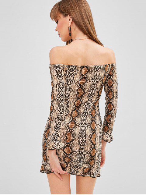 Robe Moulante Serpent Imprimé à Epaule Dénudée - Multi L Mobile