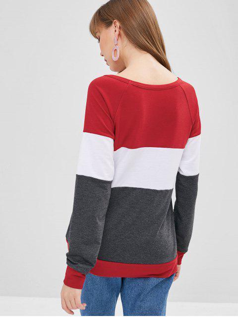 buy Raglan Sleeves Three Tone Tee - MULTI S Mobile