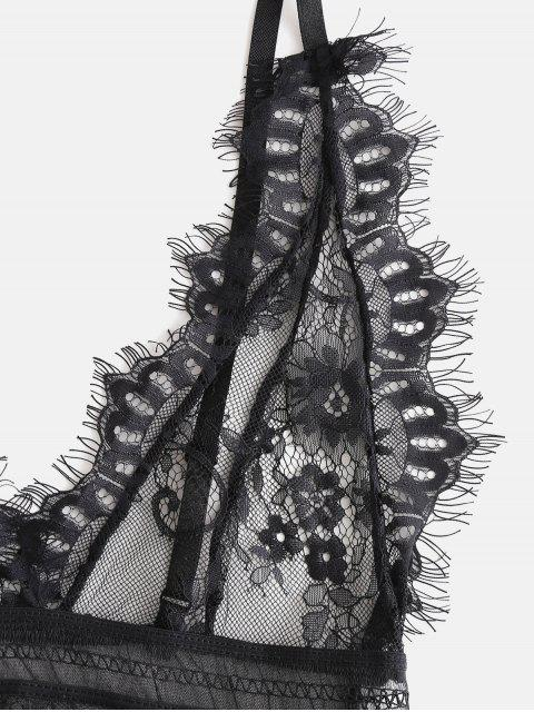 women Backless Lace Eyelash Lingerie Teddy - BLACK L Mobile