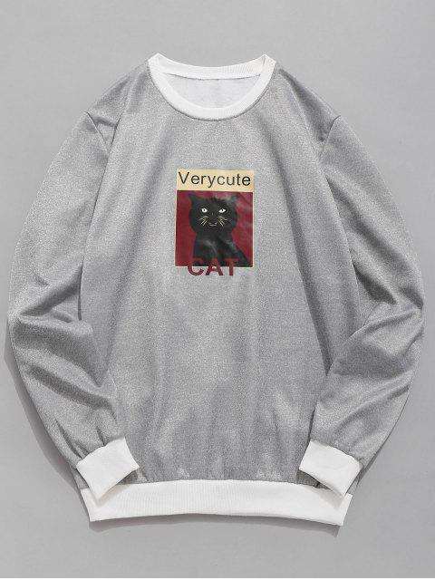 best Cat Graphic Fleece Sweatshirt - GRAY S Mobile