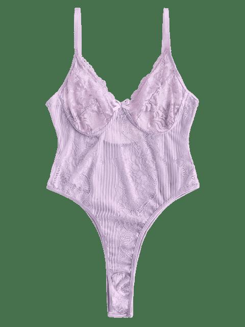 womens Bowknot Lace High Leg Lingerie Teddy - MAUVE M Mobile