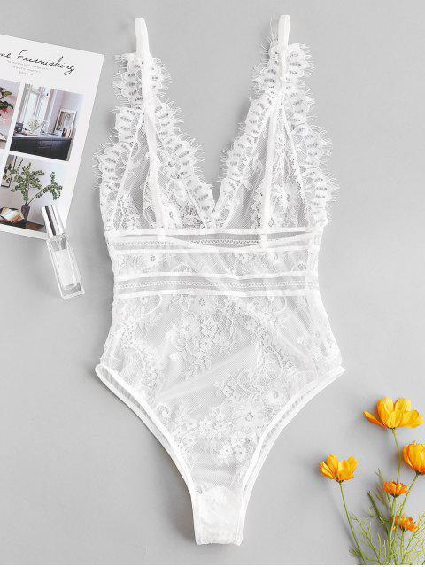 unique Backless Lace Eyelash Lingerie Teddy - WHITE S Mobile
