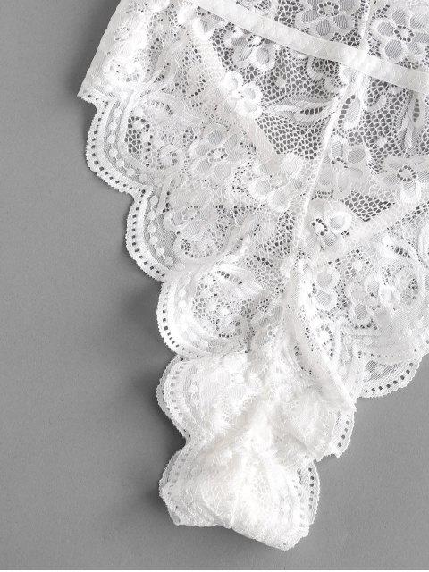 hot Halter Scalloped Lace Lingerie Teddy - WHITE L Mobile