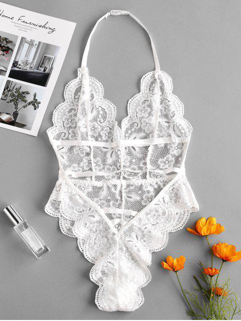 online Halter Scalloped Lace Lingerie Teddy - WHITE S Mobile