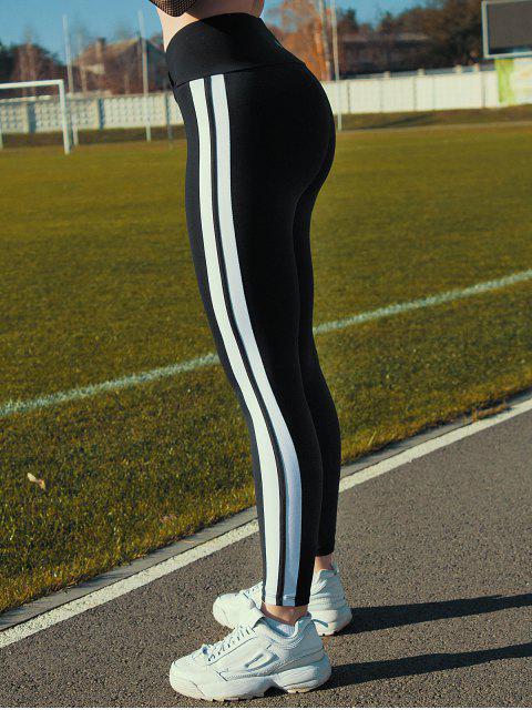 Legging de Sport à Taille Haute Rayé - Noir L Mobile
