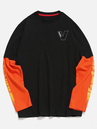 ae00a56cb025 Falsches Zweiteiliges T-Shirt Mit Kontrastbuchstaben - Schwarz 2xl