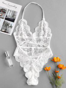 الرسن صدفي الدانتيل الملابس الداخلية تيدي - أبيض S