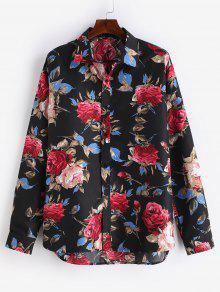 قميص بطبعات زهور مطبوعة - أسود L