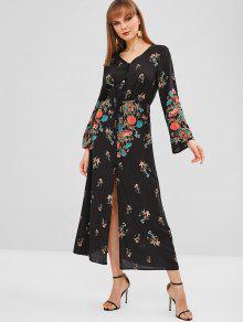 زر الأزهار التعادل أسفل فستان ماكسي - أسود L