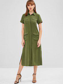 فستان بنمط قميص بشقين جانبيين - أخضر L