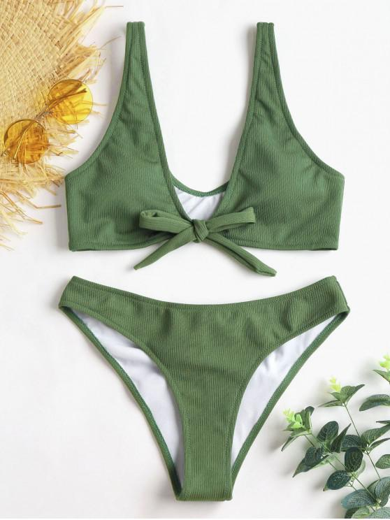 Bikini de Trasero Acanalado con Pliegues - Ejercito Verde S