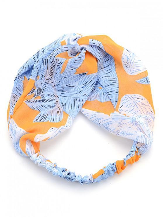 affordable Fashionable Feather Decoration Chiffon Headband - LIGHT SKY BLUE