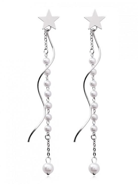 Boucles d'Oreilles Pendantes Perlées Etoile Design - Argent