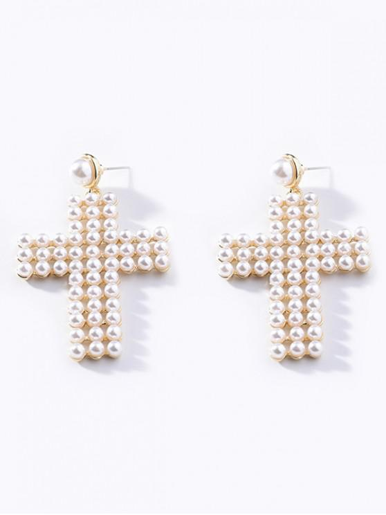Pendientes de diamantes de imitación de la forma de la cruz de la perla de imitación - Blanco