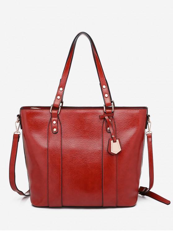 shop Pendant Embellished Casual Tote Bag - RED