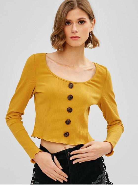 ladies ZAFUL Buttons Embellished Ribbed Knitwear - BRIGHT YELLOW L