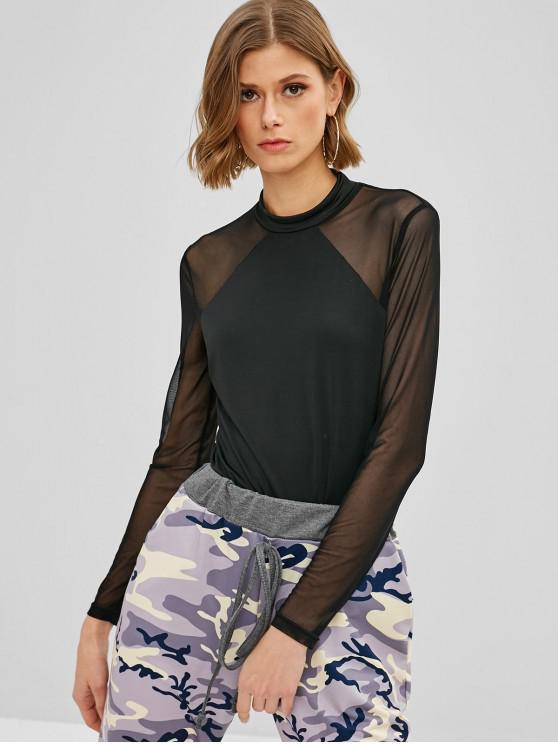 lady ZAFUL Mesh Panel Long Sleeve Bodysuit - BLACK S