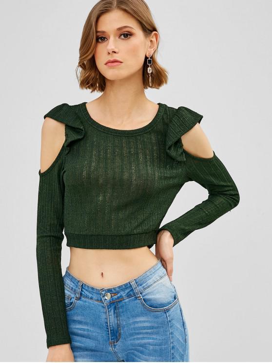 ZAFUL T-shirt en Tricot Plissé à Epaule Dénudée - Vert Foncé S