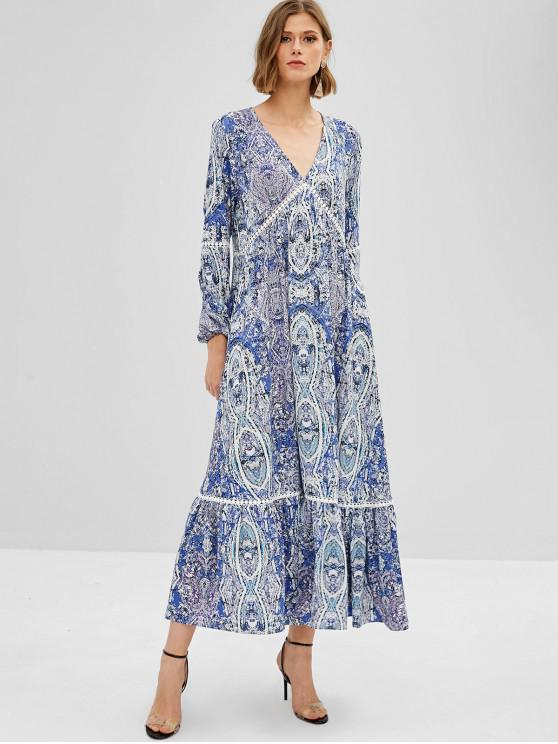 ZAFUL Maxi Robe Imprimée à Manches Longues à Volants - Bleu de Ciel  M