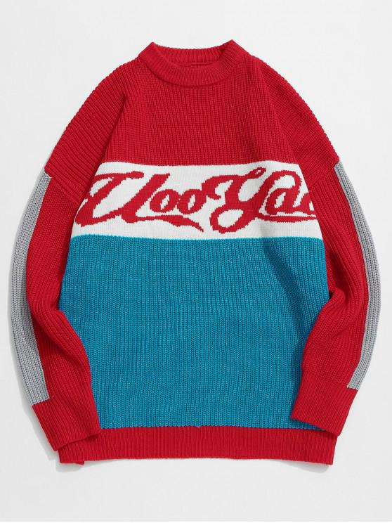 new Color Block Letter Pattern Knit Sweater - RED XL