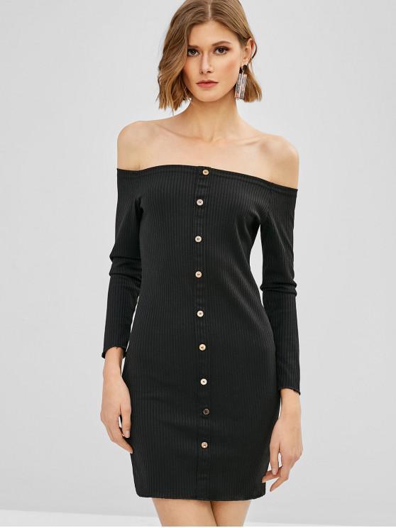 Schulterfreies, geripptes Mini, figurbetontes Kleid - Schwarz L