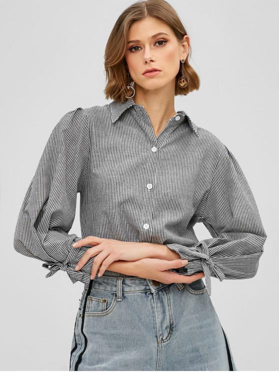 04226e38 63% OFF] 2019 Tied Sleeve Striped Button Up Blouse In GRAY | ZAFUL ...