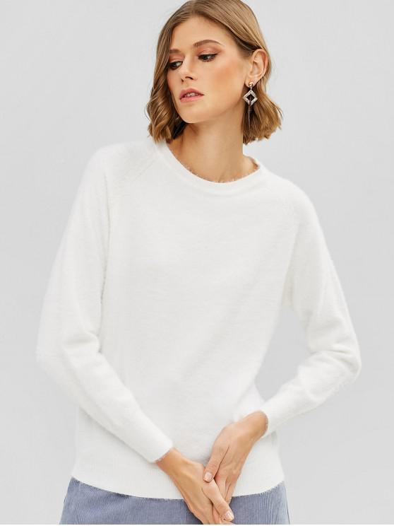 chic Raglan Sleeve Fuzzy Sweater - WHITE ONE SIZE