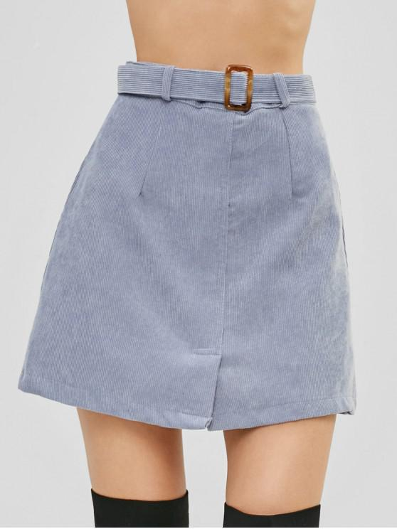 sale Belted Corduroy Mini Skirt With Inset Shorts - BLUE GRAY L