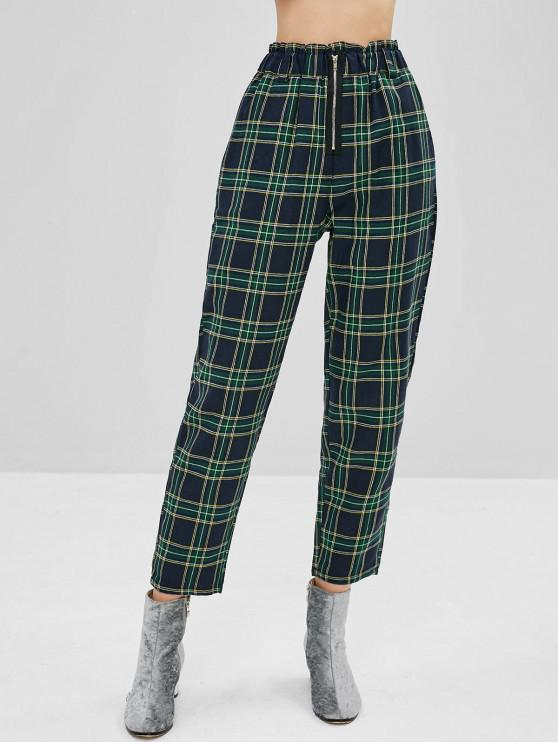 fashion High Waisted Plaid Tapered Pants - MULTI S