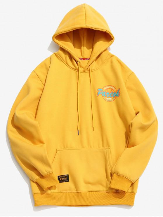 Sudadera con capucha de impresión de logotipo gráfico de carta - Amarillo XS