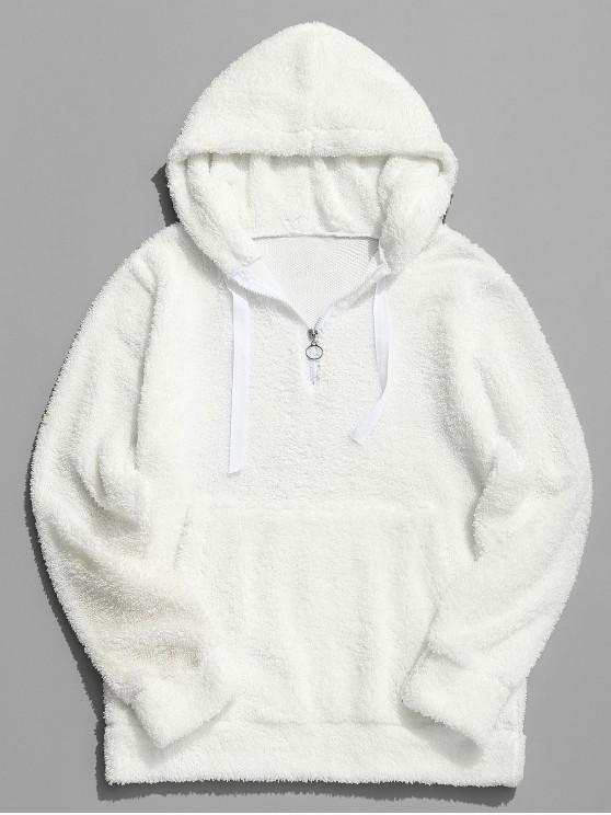 Top Zipper Solid Fluffy Hoodie - Weiß XS
