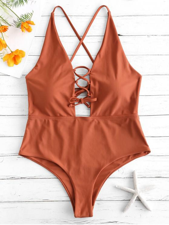 affordable ZAFUL Lace Up Backless Swimsuit - MAHOGANY L