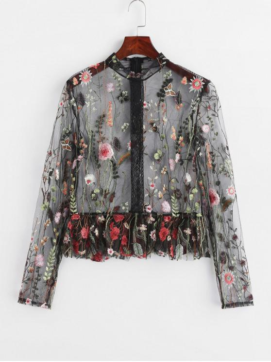 latest Ruffled Embroidered See Through Top - MULTI M