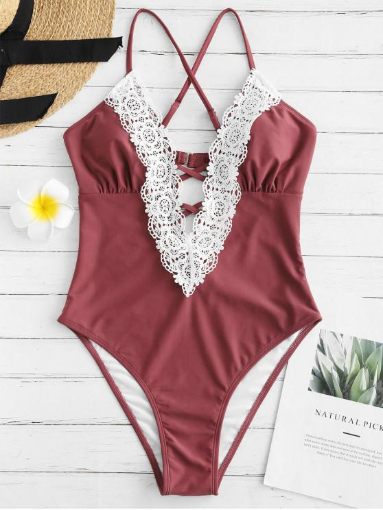 lady Lattice Front Crochet Panel High Cut Swimwear - CHESTNUT S