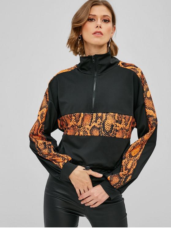 buy Snakeskin Graphic Insert Half Zipper Sweatshirt - BLACK S