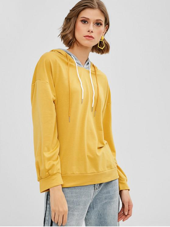 new Color Block Casual Drawstring Hoodie - YELLOW S