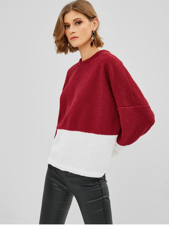 women Color Block Loose Fluffy Teddy Sweatshirt - RED WINE L