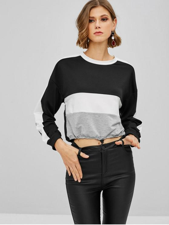 outfits Color Block Crop Sweatshirt - BLACK L