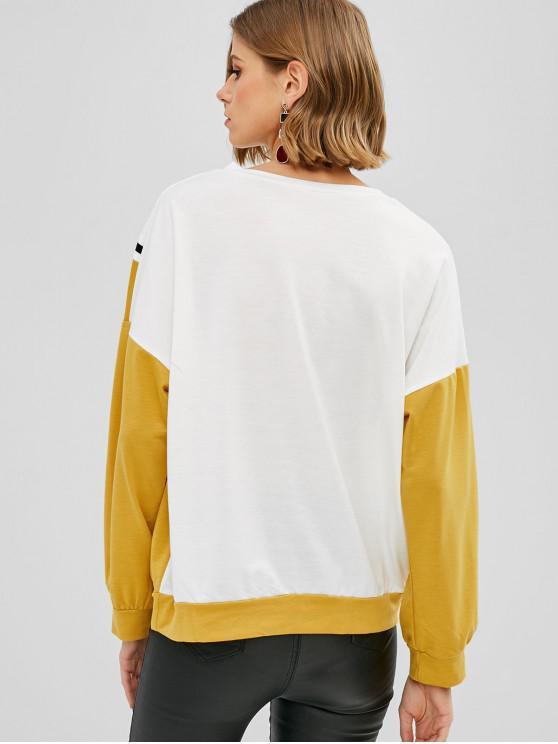 Zigzag Sweat En S CouleursJaune Ample Blocs shirt De VUqSzpMG