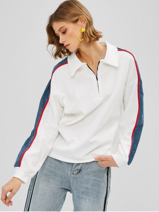 Color Block Quarter Zipper Sweatshirt   White M by Zaful